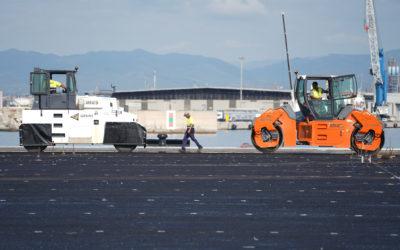 Empieza la fase de pavimentación de la explanada del Muelle de Balears